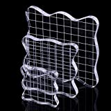 DECORA Acrylic Clear Rubber Stamping Blocks Set with Grid Package of 3
