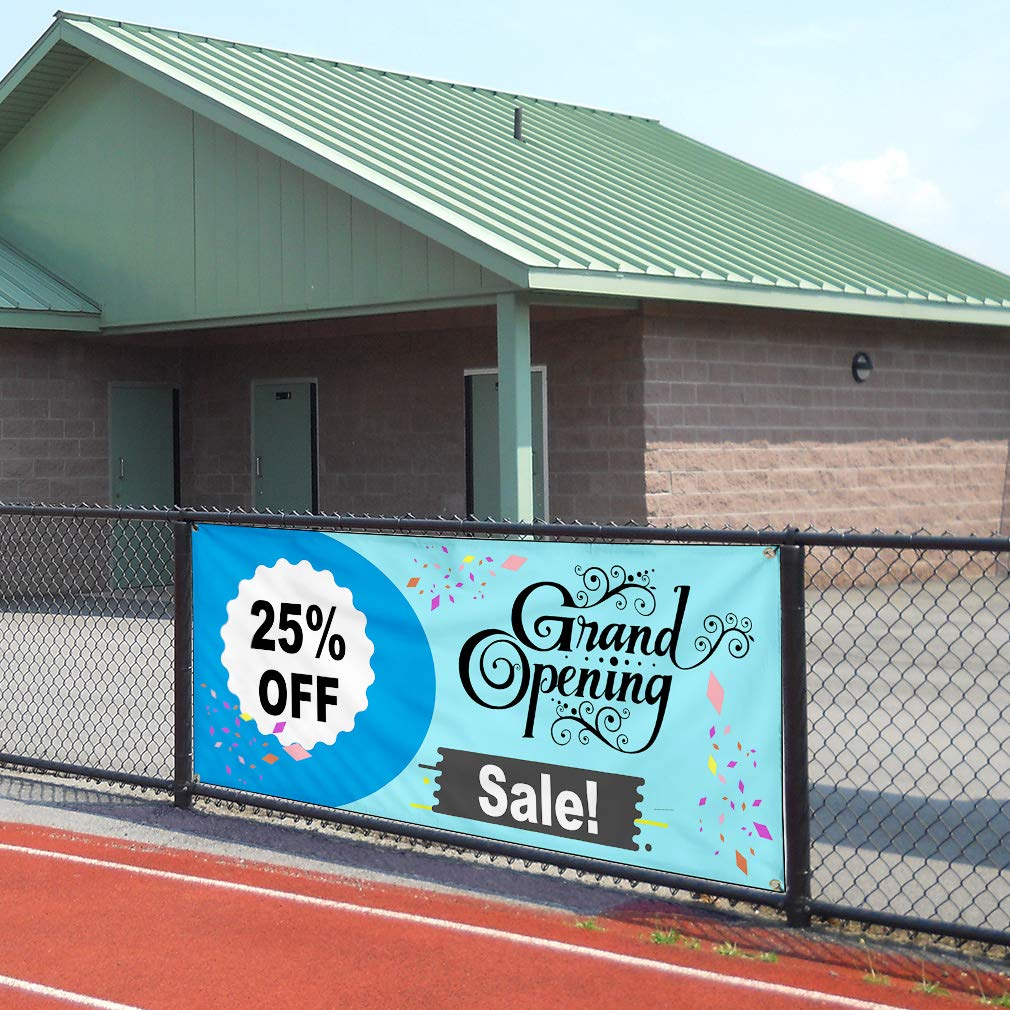 Custom Vinyl Banner Sign Multiple Sizes Grand Opening Sale Blue Business Personalized Marketing Advertising Blue 10 Grommets 60inx144in One Banner