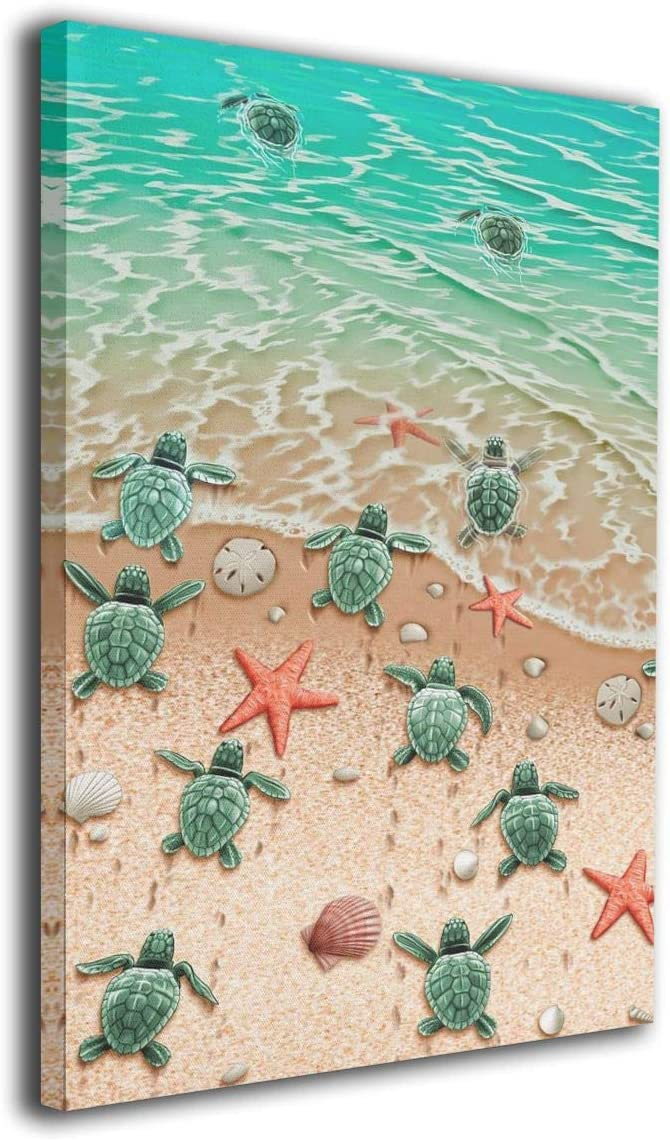 """DEMO QUEEN Wall Vintage Painting Picture - Little Turtle Crawling on the Beach, Canvas Wall Art Easy to Hang, Vibrant Colors, Home Decor for Bathroom, Living room, Kitchen, -8""""x12"""" inch"""