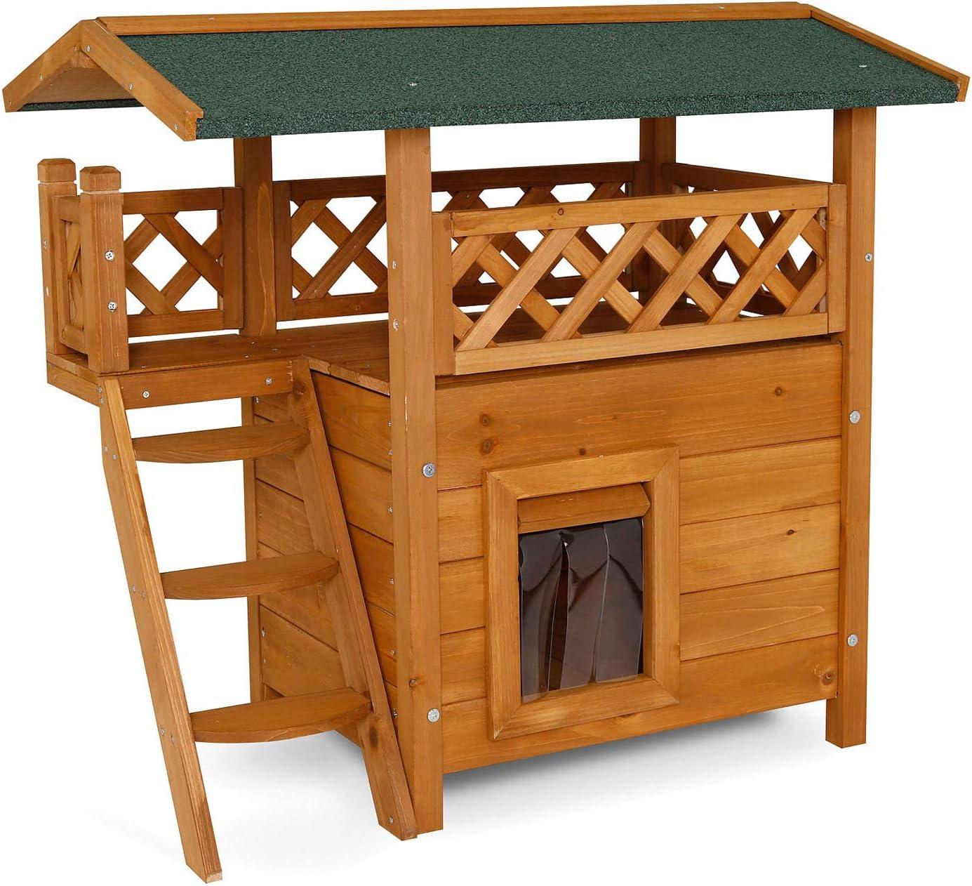 Dibea - Caseta para Gato (Madera, 77 x 50 x 73 cm), con terraza y Escalera