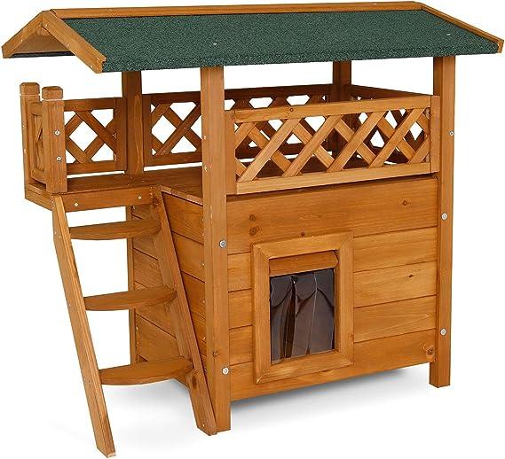 Dibea - Caseta para Gato (Madera, 77 x 50 x 73 cm), con terraza y ...