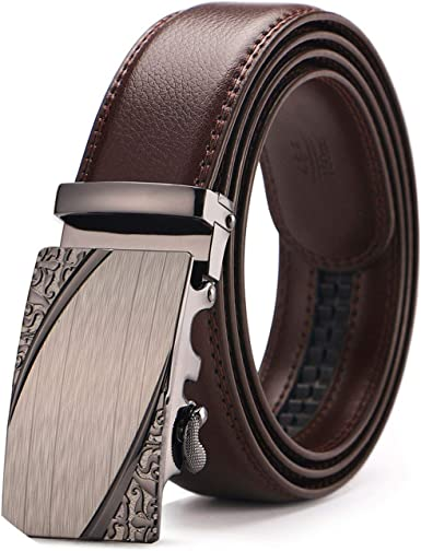 MenS Genuine Leather Belt Brown Automatic Buckle Waist Strap Business Male Cintos