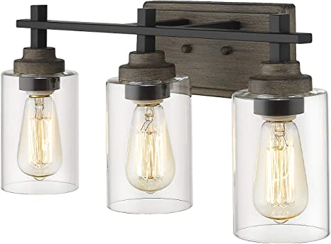 Osimir Farmhouse Bathroom Light Fixtures 3 Light Vanity Lights Fixtures In Wood Paint And Matte Black Finish With Clear Cylinder Glass 21 Inch Bathroom Lights Over Mirror Wl9171 3 Amazon Com