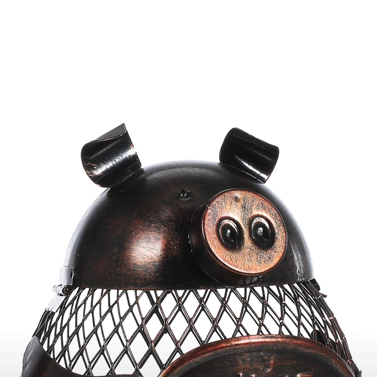 Tooarts Piggy Wine Barrel Cork Cage Container Metal Sculpture Handicraft Gift Home Decor by Tooarts (Image #5)