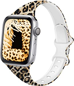 DYKEISS Pattern Printed Slim Silicone Band Compatible for Apple Watch Band 38mm 42mm 40mm 44mm, Fadeless Floral Thin Narrow Replacement Strap for iWatch Series 5/4/3/2/1 (Leopard, 38mm/40mm)