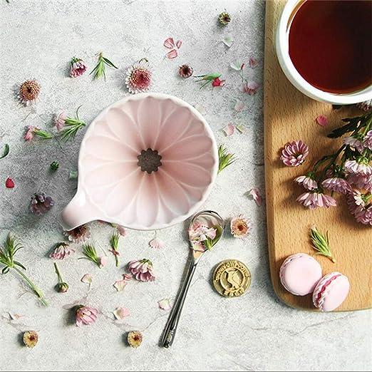 COKFEB Filtro de café Taza de cerámica para Goteo de pétalos Cafetera V60 Cafetera de Goteo de café Rosa/Verde/Amarillo Espresso Filtros Accesorios para café, rosa1-2 Personas: Amazon.es: Hogar