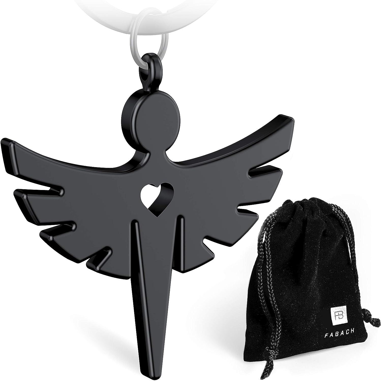 metal FABACHTM Llavero con /ángel de la guarda y coraz/ón color plateado negro y oro rosa