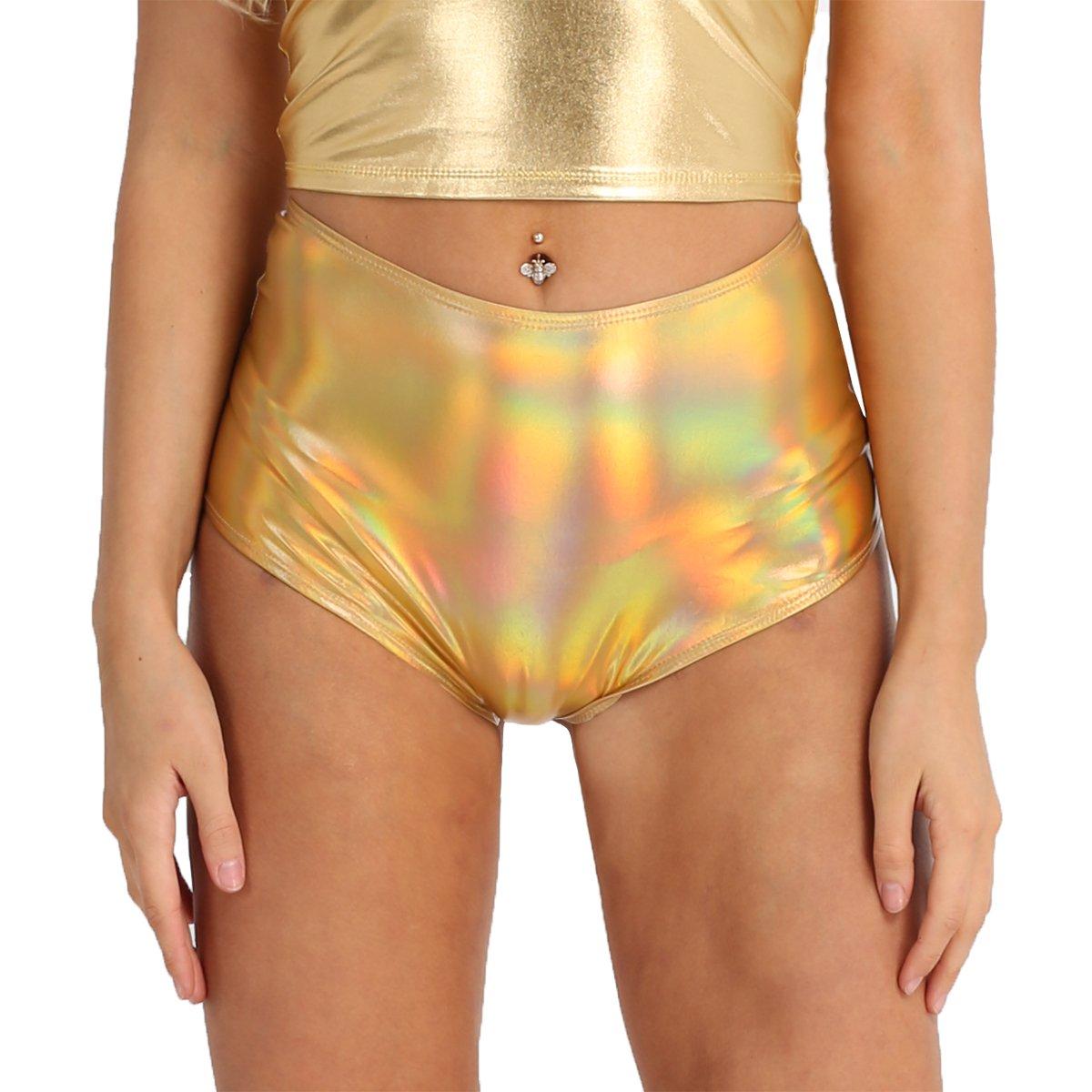 Alvivi Women Shiny Metallic Hologram High Waisted Booty Shorts Rave Dance Bottoms Panties