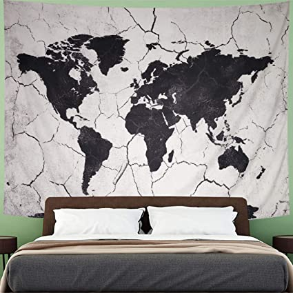 Amhokhui World Map Tapestry Black and White Hippie Map Tapestry Marble  World Map Tap Abstract Splatter Painting Wall Tapestry Hanging for Living  Room ...