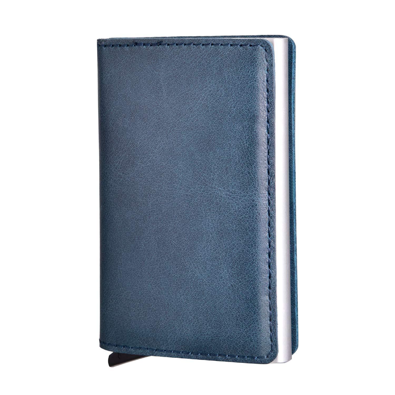 Kreditkartenetui, SECARIER Echtleder Kartenetui Visitenkartenetui Geldklammer Karten Portemonnaie mit RFID Schutz ohne Verschluss (Blau)