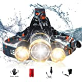 AUSELECT Waterproof 3LED Headlamp 5 Modes High Lumen Flashlight T6 Headlight Zoomable Sensor Control Helmet Light for…