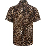 DIOMOR Mens Party Club Fashion Leopard Print Printed Blouse Casual Long Sleeve Slim Shirts Tops Carnival
