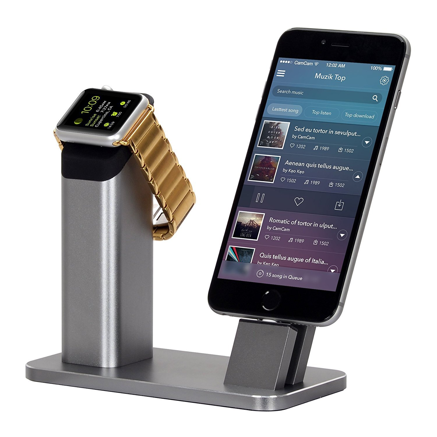 ZIKU Aluminum Stand for Apple Watch iPhone X/8/8Plus/7/7Plus/6s/6s Plus (Gray Z808)