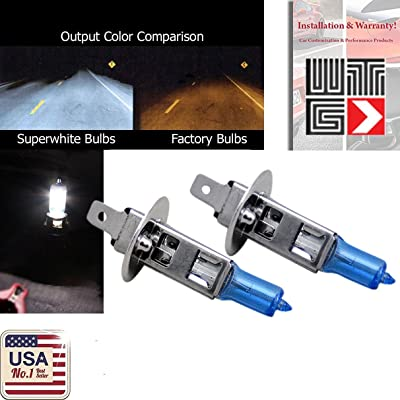 WTG H1 1 PAIR 100W Super White Xenon Halogen OEM Headlight Light Bulbs (Low Beam): Automotive