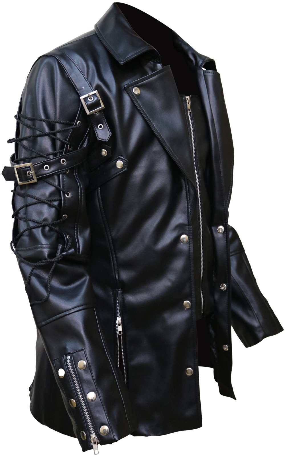 Punk Rave Poison Black Jacket Mens Faux Leather Goth Steampunk Military Coat, XXS-3XL 4