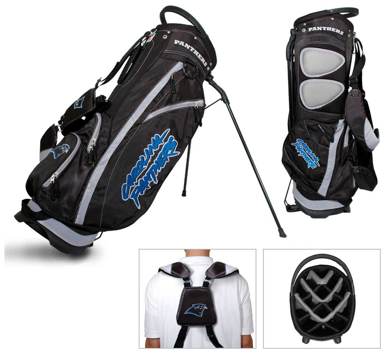 Team Golf NFL Carolina Panthers Fairway Golf Stand Bag, Lightweight, 14-way Top, Spring Action Stand, Insulated Cooler Pocket, Padded Strap, Umbrella Holder & Removable Rain Hood