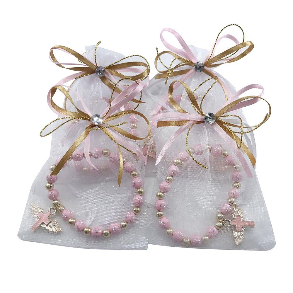 Amazon.com: 12 Pcs Angel Wing Cross Bracelet with Organza Favor Bags ...