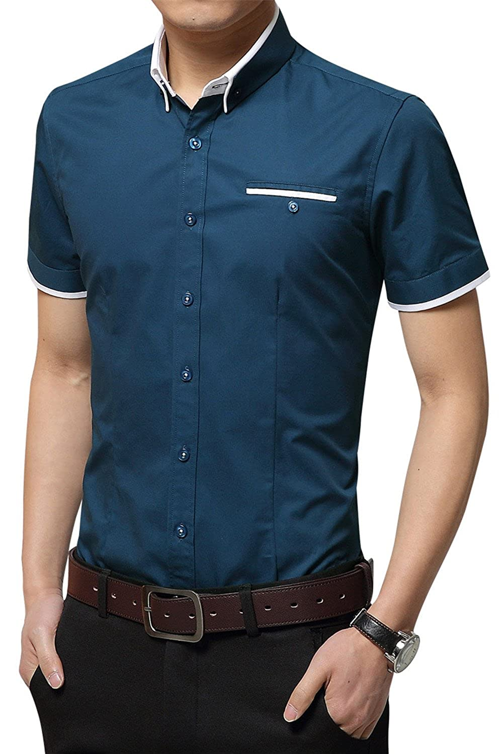 b2225d8ae0d5 Button-down closure dress shirt  short-sleeves  Standard fit style  Great  thin cotton fabric