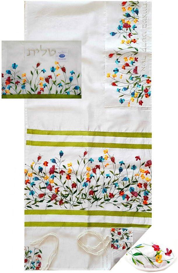"""Embroidered Tallit Prayer Shawl Set with Tallit Bag Kippah Kosher Tzitzit 78"""""""
