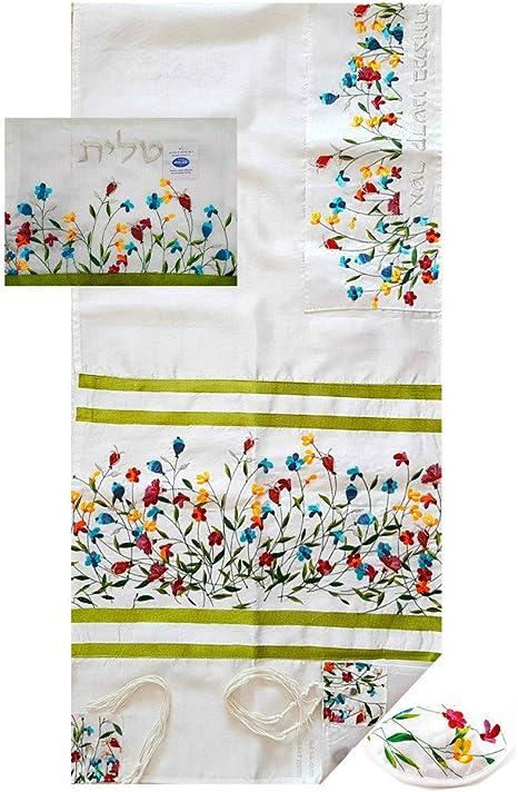 Kosher Tallit Prayer Shawl Set Kippah Tallis Bag Tzitzit Pomegranates Embroidery