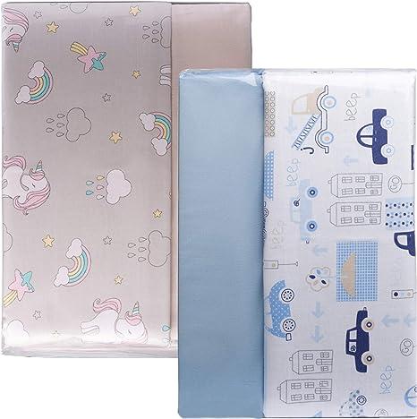 Cangoo Set de 3 sábanas para cuna, ropa de cama para bebés, 60x120cm, 100% algodón, sábana reversible, cochecitos azules, gran regalo: Amazon.es: Bebé