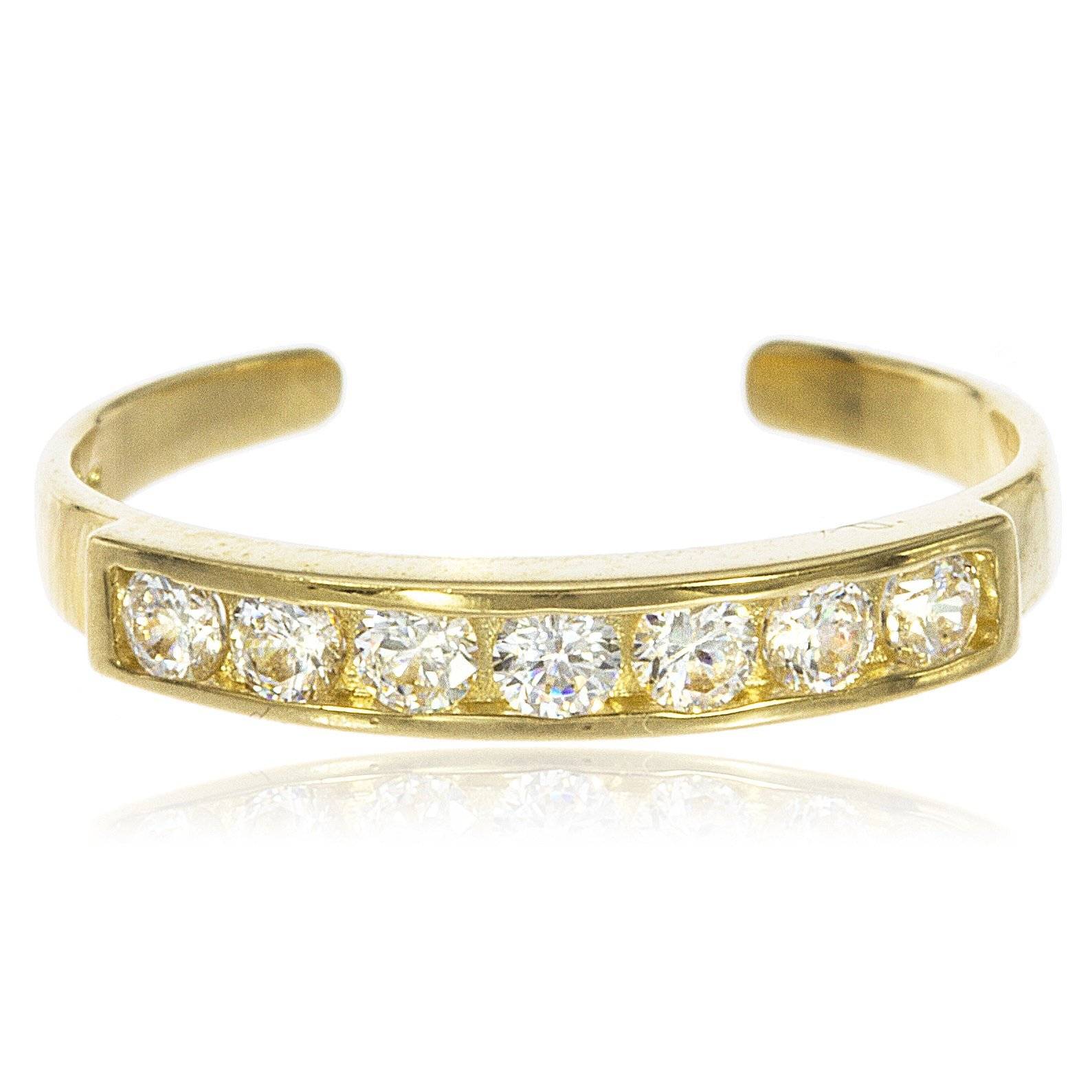 JOTW 10k Yellow Gold Bar with Cubic Zirconia Stones Toe Ring (GO-543) by JOTW