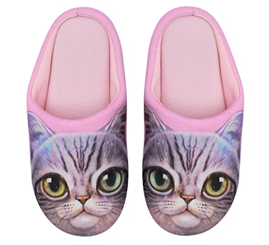 Babyprice Men's & Women's Cotton House Slippers Dog Cat Print Anti-slip Indoor Shoes