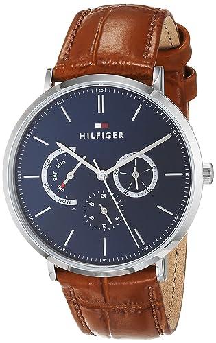 Tommy Hilfiger Reloj Multiesfera para Hombre de Cuarzo con Correa en Cuero 1710375: Amazon.es: Relojes
