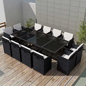 Chloe Rossetti Outdoor Dining Set Nine Pieces Poly Rattan Furniture Sets  Black Cushion Material: 100