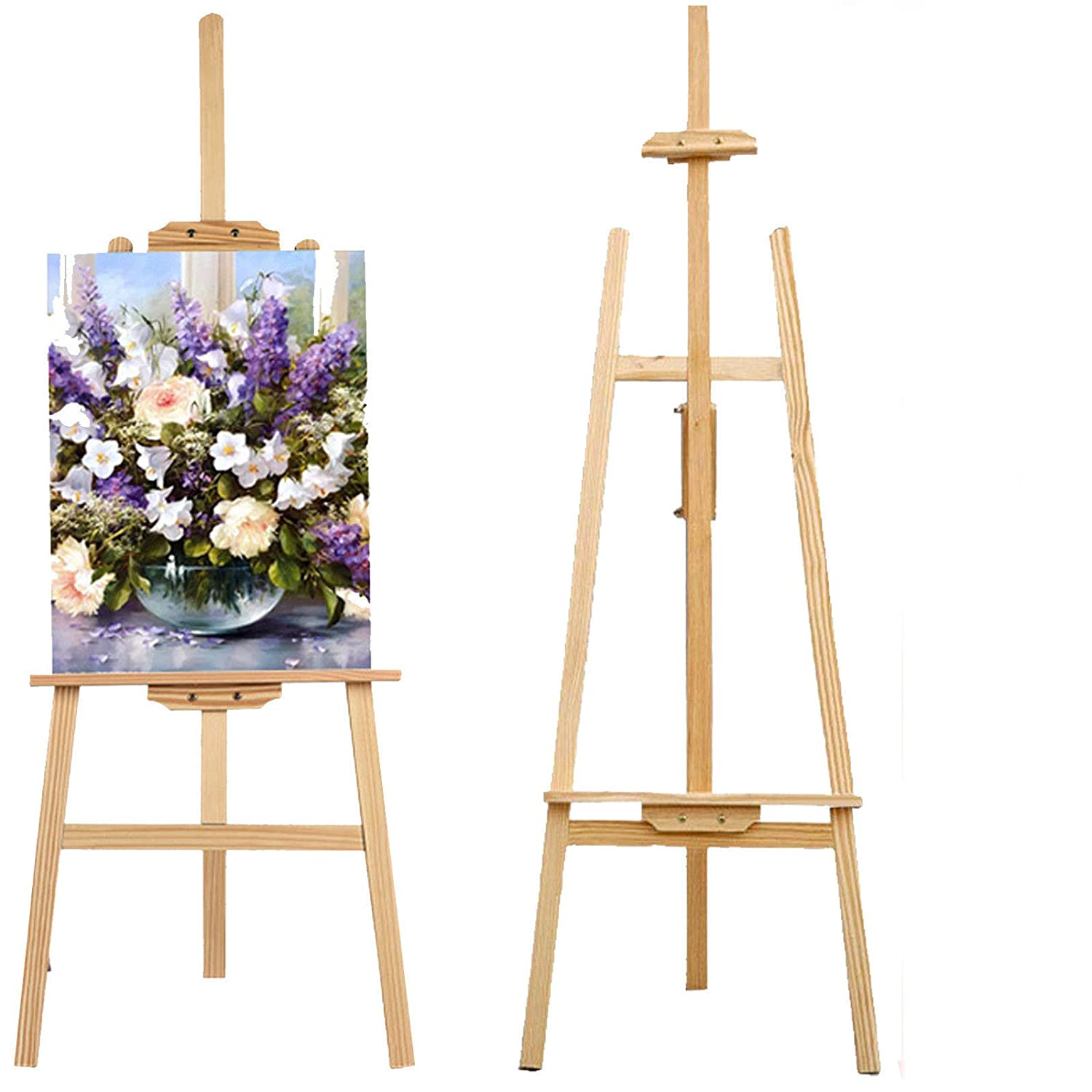 1.50M/59inch Studio Easel Wooden A-Frame Folding Pine Wood Artist Art Craft Display for Drawing ZhanGe Factory