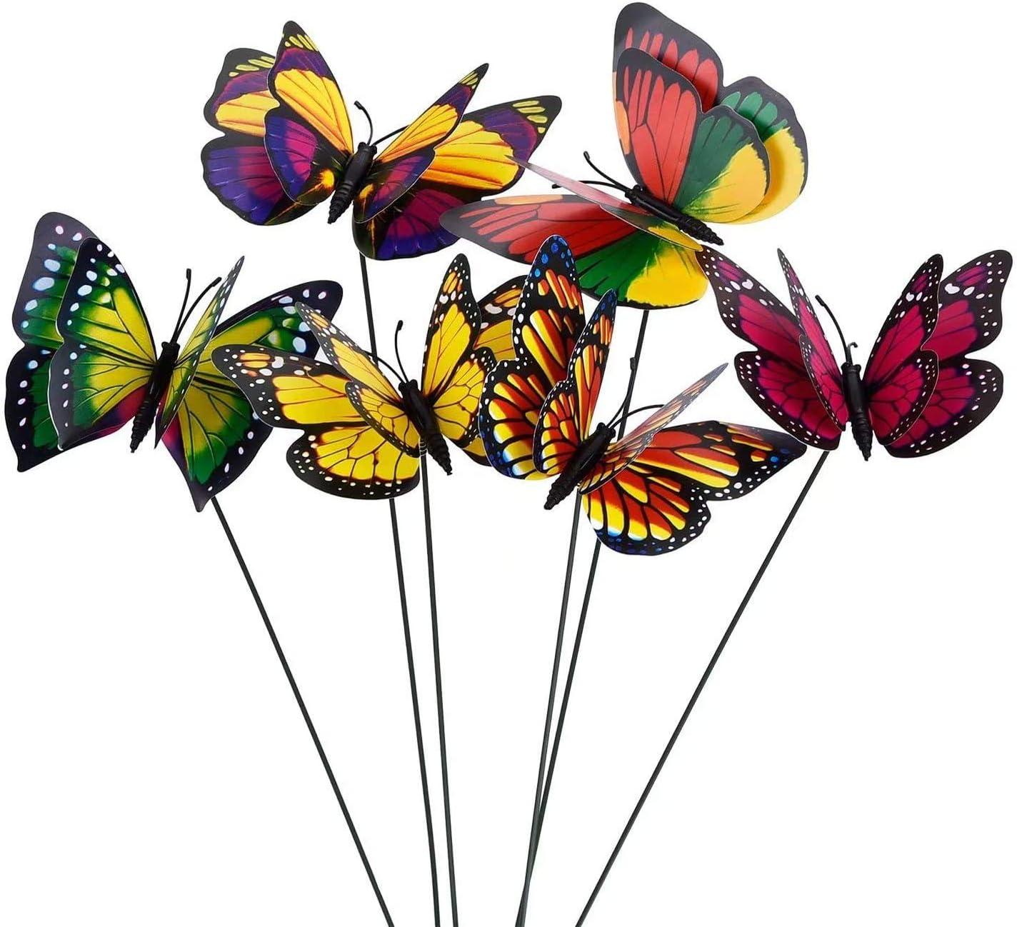 CTTURTG Butterfly Stakes Outdoor Butterflies Yard Planter Flower Pot Bed Garden Decor Christmas Tree Decorations 10pcs