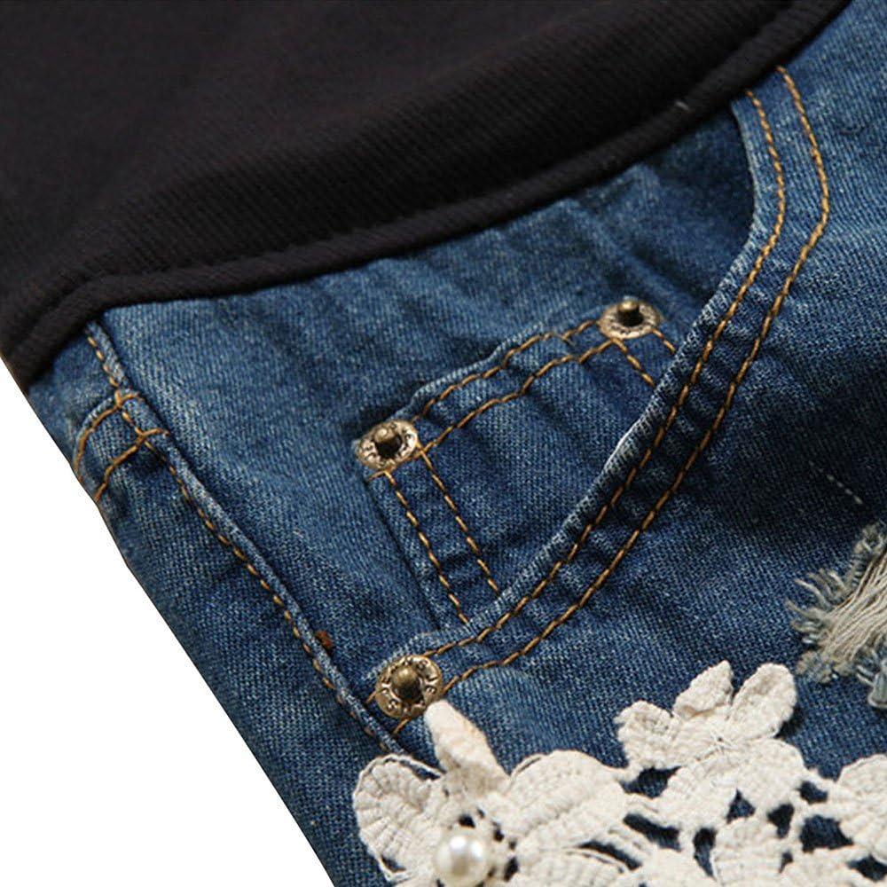huateng Pantaloncini di Jeans da Donna Incinta Pantaloncini di maternit/à in Pizzo Nuovo Stile Estivo