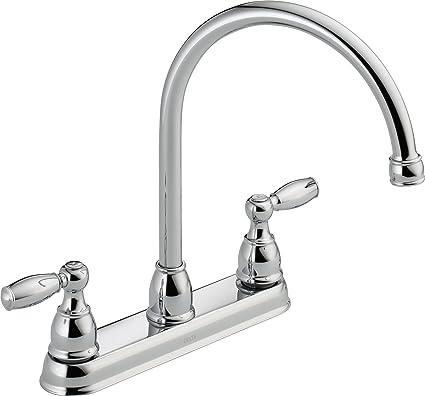 delta faucet 21987lf two handle kitchen faucet chrome touch on rh amazon com