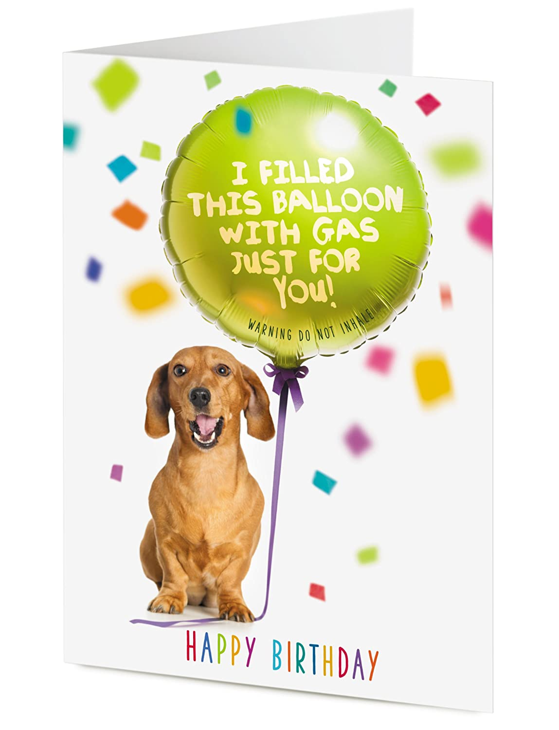 Funny Dachshund Sausage Dog Holding A Balloon I FILLED THIS BALLOON WITH GAS JUST FOR YOU