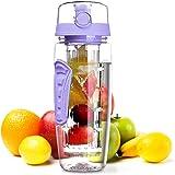 OMORC 32 OZ Sport Fruit Infuser Water Bottle, Flip Top Lid & Dual Anti-Slip Grips, BPA Free Infuser Water Bottle, Free Recipe