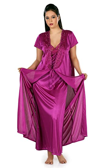 80e676458b Active Elements Girls Polyester Satin 2 Piece Gown Set Night wear Sleep  Dress – one Size fit to Most for Bust 34 to 38 inch. Design-LS 5041 2p-New   ...