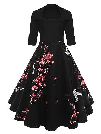 CiuCoo Vintage Women Floral Flare Midi Dresses Retro Elegant Dress Vestidos Femme