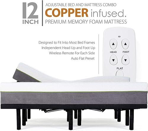 Blissful Nights Split King Adjustable Bed Frames and 12 Inch Copper Gel Infused Cool Memory Foam Mattress Medium Firm Feel CertiPUR-US Certified Split King