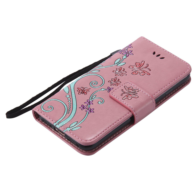 avec Verre Tremp/é PU Cuir Flip Housse /Étui Rabat Cover Case Wallet Portefeuille Support avec Porte-Cartes Pochettes Case Oro Rosa Boloker Coque Compatible iPhone 5C