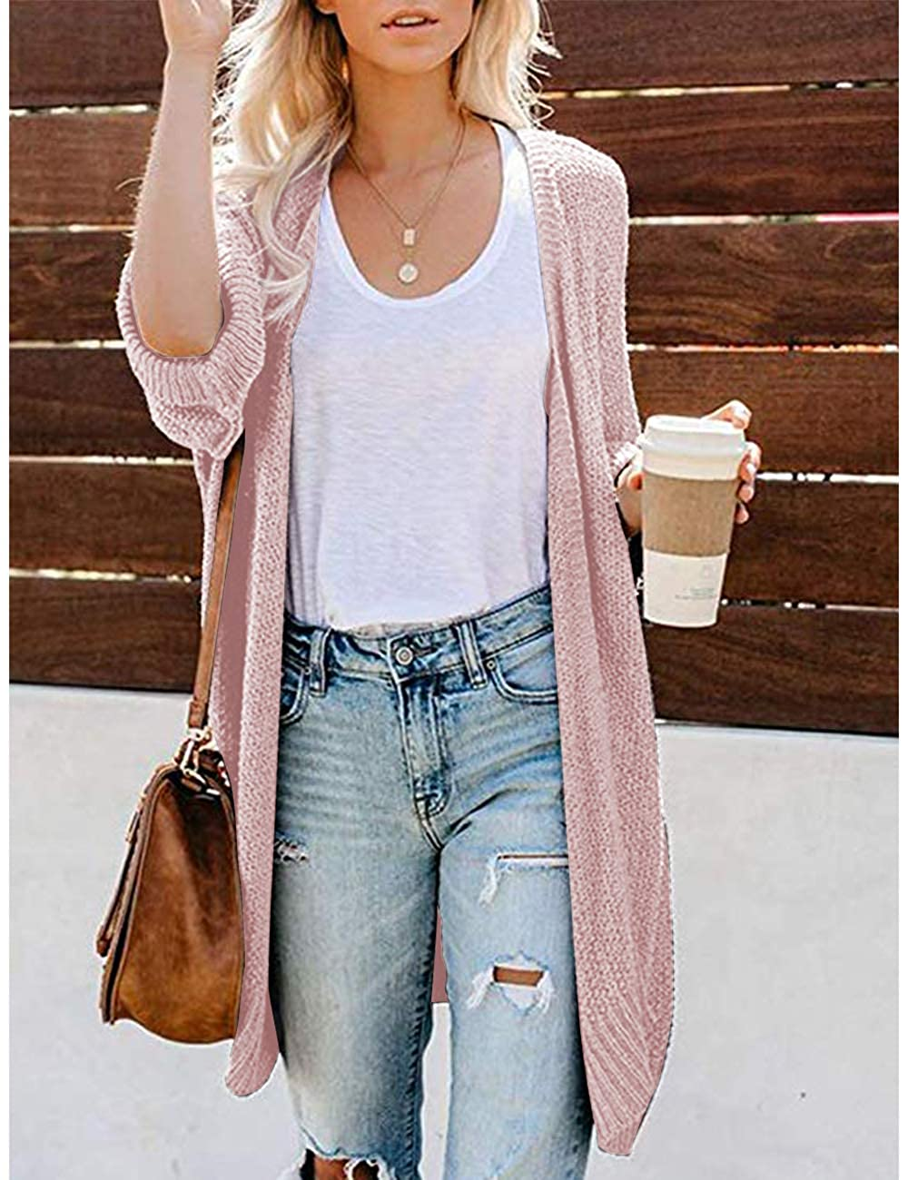 CPOKRTWSO Womens Loose Open Front 3//4 Sleeve Knit Kimono Cardigans Sweater with Pockets