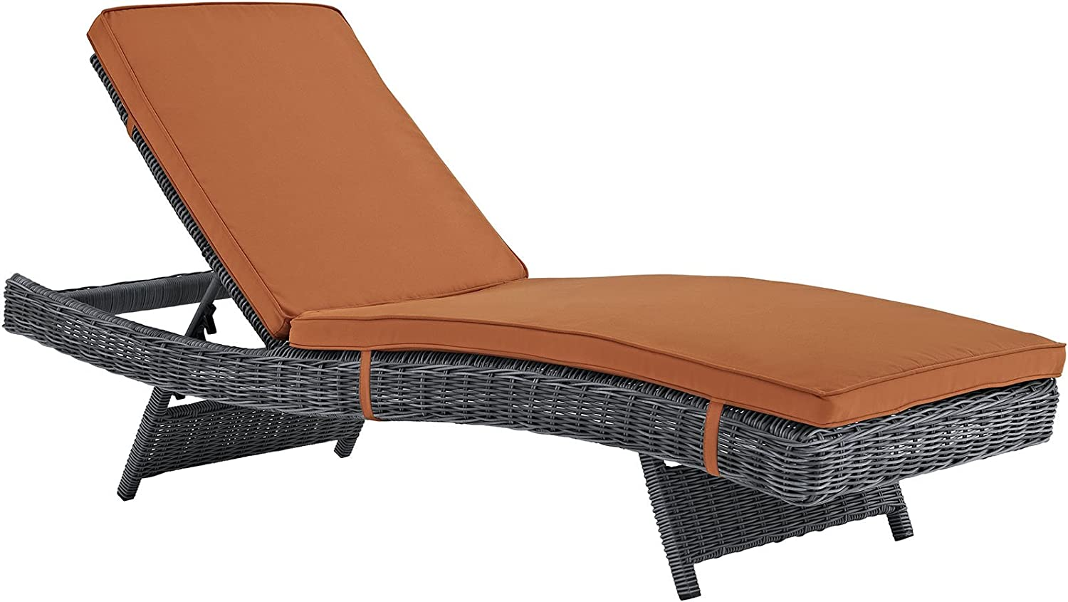 Modway Summon Wicker Rattan Outdoor Patio Sunbrella Fabric Chaise Lounge Chair in Canvas Tuscan: Kitchen & Dining