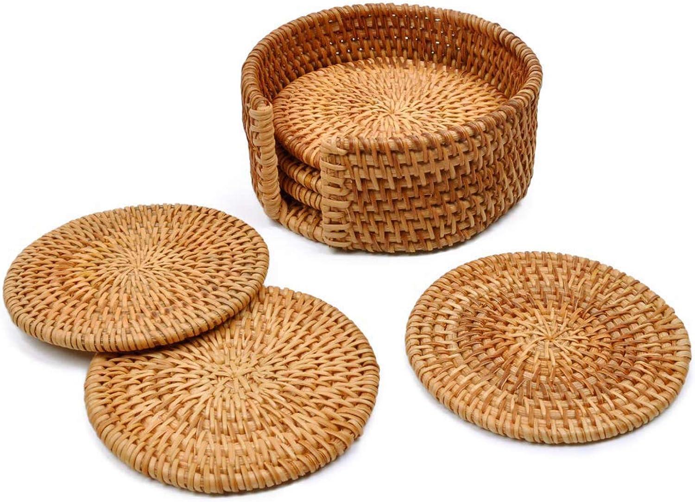 Juego de 6 posavasos de ratán de tejido de ratán hecho a mano para manualidades, posavasos de ratán para bebidas, decoración del hogar, soporte para mesa de cocina, bebidas, ratán, 4*4 in