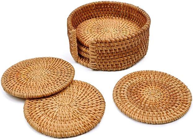 6Pcs//Set Vintage Rattan Coasters With Basket Handmade Vine Woven Drink Mat