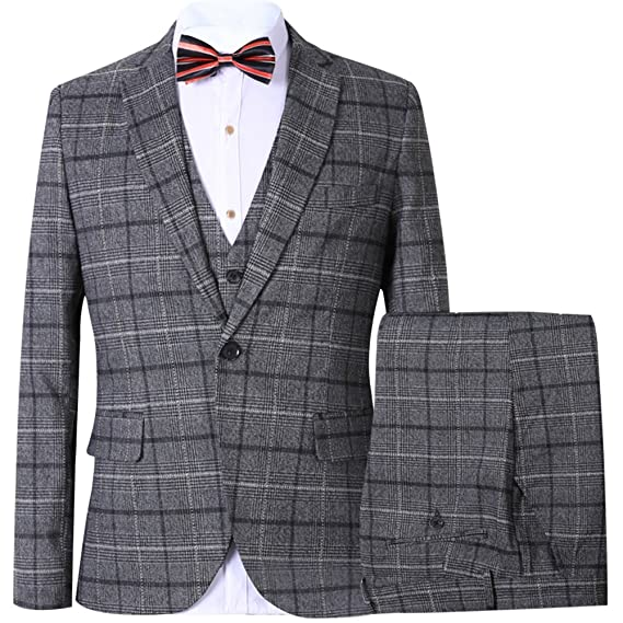 1920s Mens Suits | Gatsby, Gangster, Peaky Blinders CCXO Men's Slim Plaid Modern Fit One Button 3-Piece Suit Blazer Dress Suit Jacket Tux Vest & Trousers $84.99 AT vintagedancer.com