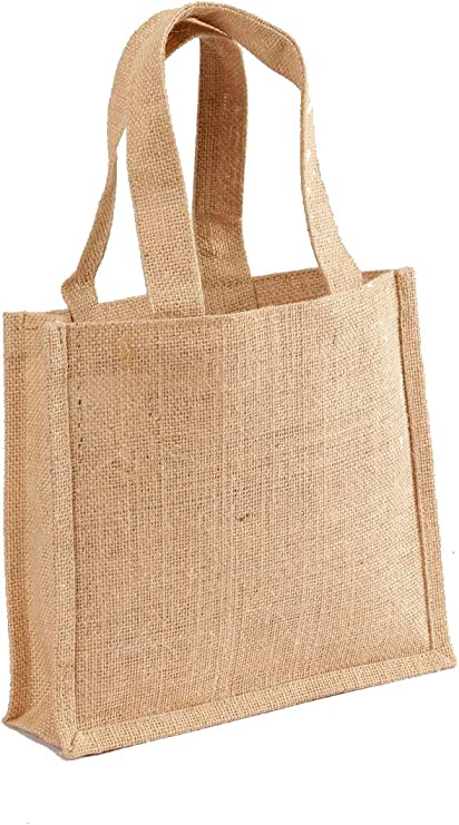Pack of 3 - Small gift bag with handles Jute burlap sbag with jute handles natural in color size 10