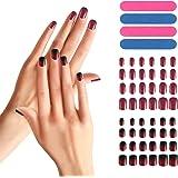 Juego de 48 uñas postizas, Segbeauty Full Cover Manicure Nail Fake Tips Rojo negro degradado
