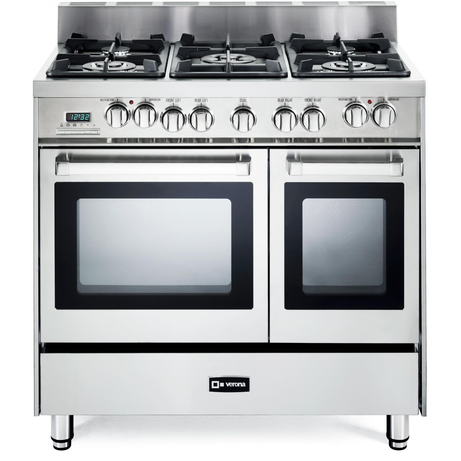 Side by side double oven gas stove - Amazon Com Verona Vefsge365ndss 36 Pro Style Dual Fuel Range With 5 Sealed Burners 2 European Convection Ovens Multi Function Programmable Ovens And