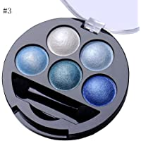 (Blue) - Newest trent 5 Colours Make up Eyeshadow Shimmer Eye Highlight Palette & Cosmetic Brush Makeup Set (3 Blue)
