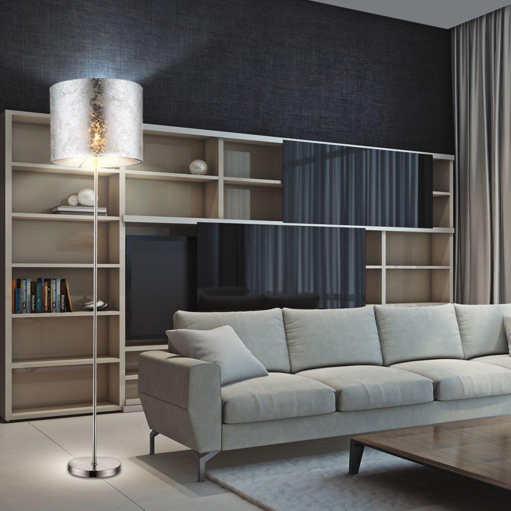 Amazon.de: Design Steh Leuchte Stoff Decken Fluter Lese Stand Lampe ...