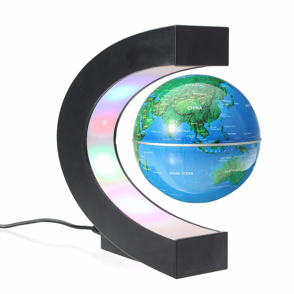 Meco 3 c shape magnetic floating globe world map led light with meco 3 c shape magnetic floating globe world map led light with touch gumiabroncs Image collections